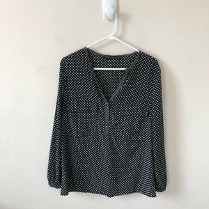 Zara Black and White Polka Dot Blouse- Size L